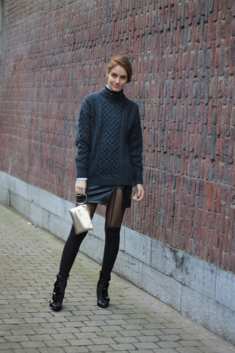 from brussels with love blogger sweater skirt shoes bag jewels winter outfits wool sweater ankle boots