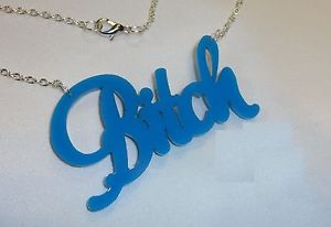 Bitch Script Lt Blue Necklace Silv CHN Pendant Punk Emo Rat Rod | eBay
