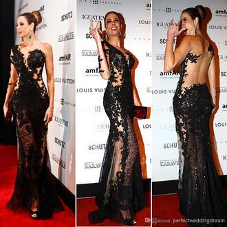 evening dress see through red carpet one long sleeves black lace dress