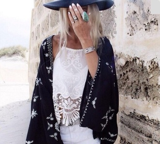 top boho high waisted shorts kimono black and white
