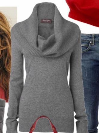 shirt oversized collar grey sweater top cotton
