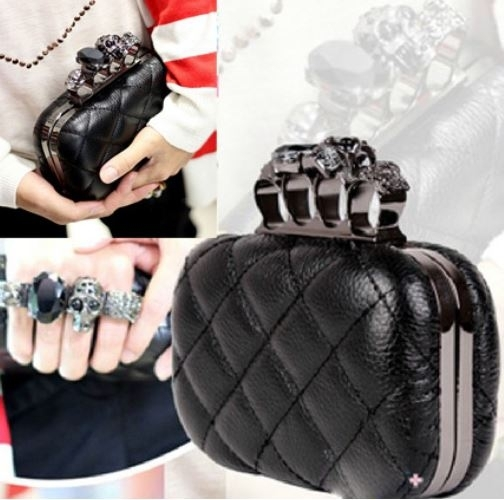 Skull Knuckle Duster Clutch - Quilted