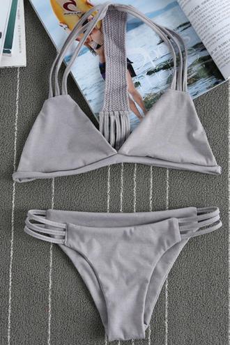 swimwear grey bikini summer beach fashion style trendy strappy