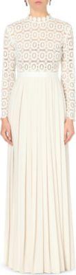 SELF-PORTRAIT Pleated floral-crochet maxi dress