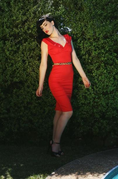 dress red dress pinup girl dress wiggle dress cocktail dress cap sleeve dress