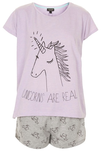 underwear pajamas t-shirt purple unicorn two-piece short sleeve