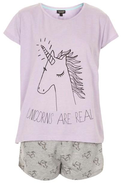 underwear pajamas t-shirt pajamas purple unicorn two-piece short sleeve