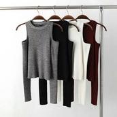 shirt,gray shirt garnet shirt black shirt no shoulder