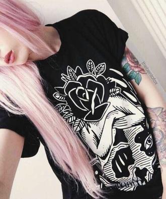 t-shirt flowers black and white grunge t-shirt grunge black t-shirt black tattoo pink hair grunge wishlist trendy