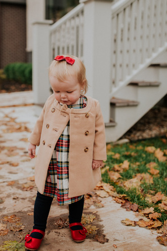 kelly in the city - a preppy chicago life style and fashion blog blogger coat dress tights fall outfits kids fashion kids dress kids coat baby clothing
