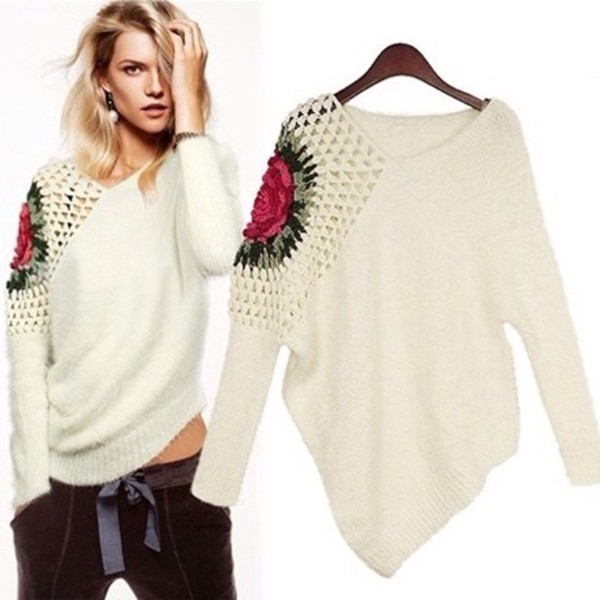 sweater asymmetrical flowers knitted sweater floral top knitted sweater white sweater flowers blouse cute kawaii fashion girly floral clothes fall outfits top white one shoulder winter sweater roses romper party short t-shirt style