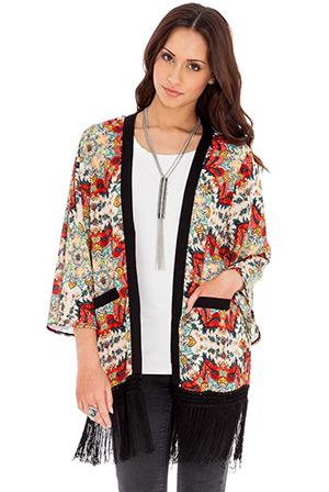 Printed Kimono Jacket with Tassels