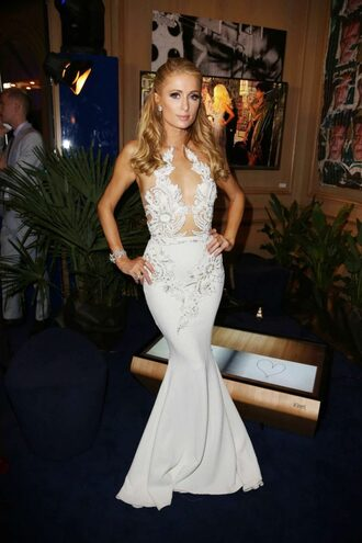 dress gown prom dress paris hilton white white dress lace dress plunge dress long prom dress cannes wedding dress
