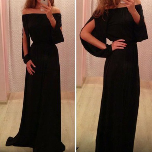 dress off the shoulder dress long dress black dress long sleeve dress clothes gown cut-out cut out shoulder maxi dress prom dress black