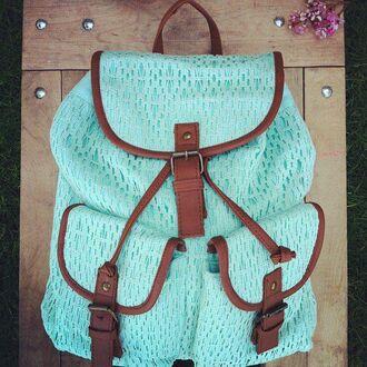 bag crochet school bag mint blouse victoria's secret aeropostale backpack love more lace candace model robe silky blonde hair vs vintage blue
