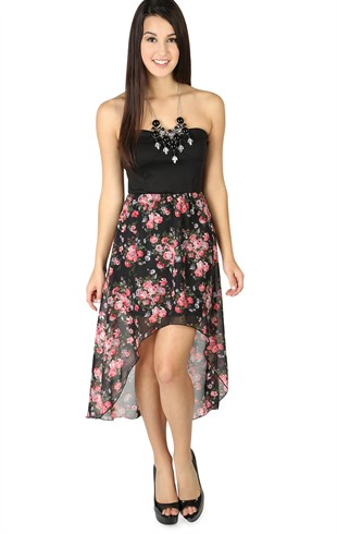 Strapless High Low Dress with Chiffon Floral Skirt Mobile