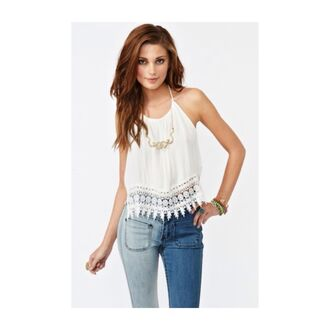 shirt halter top lace lace trim top white white top crop tops lace crop top white halter top white lace top white crop tops halter neck backless backless top jeans blouse