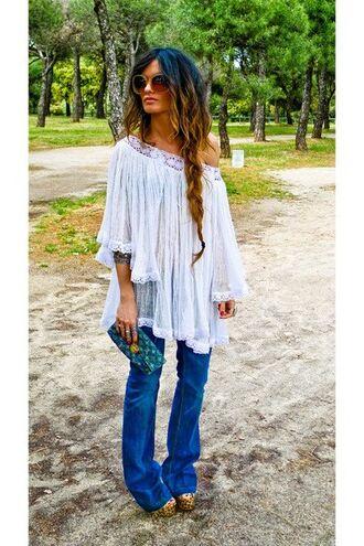 jeans bohemian boho flare bell bottoms blouse