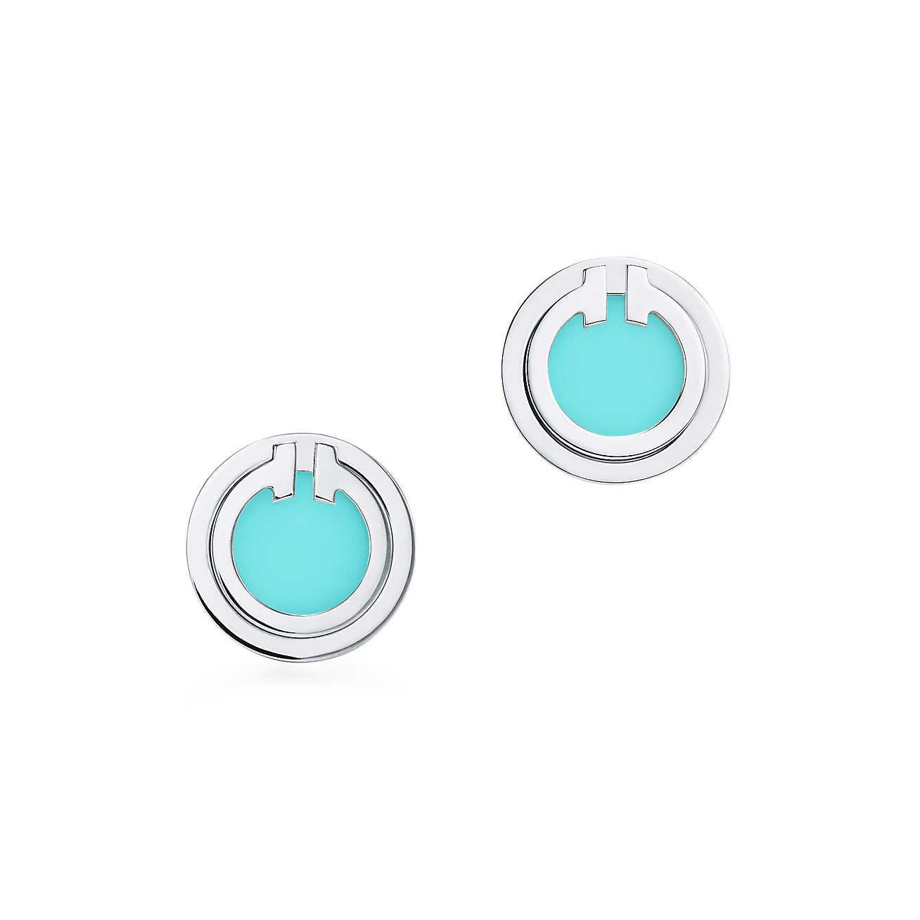 Tiffany T Two turquoise circle earrings in 18k white gold