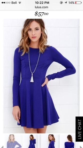 dress long sleeve dress royal blue dress blue blue dress chic fashion