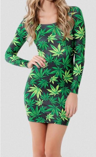 Aliexpress.com : buy 2014 spring new women's pot weed marijuana print long sleeve harajuku mini bodycon dress from reliable dress adjustment suppliers on amee fashion trading co., ltd.