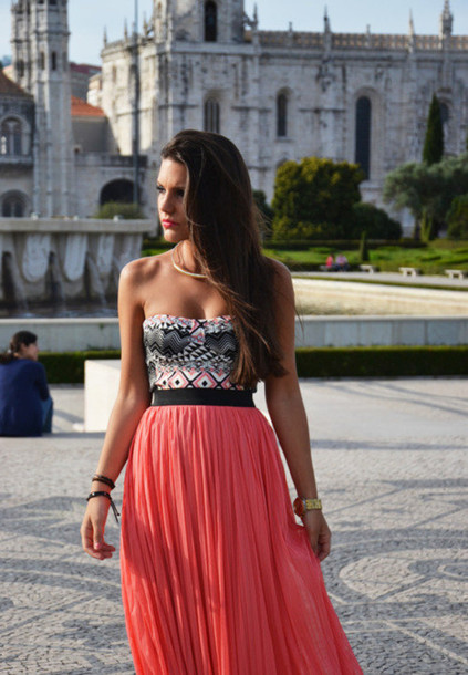 Shirt strapless skirt tank top fashion top spring top crop tops tube top pink pink top ...