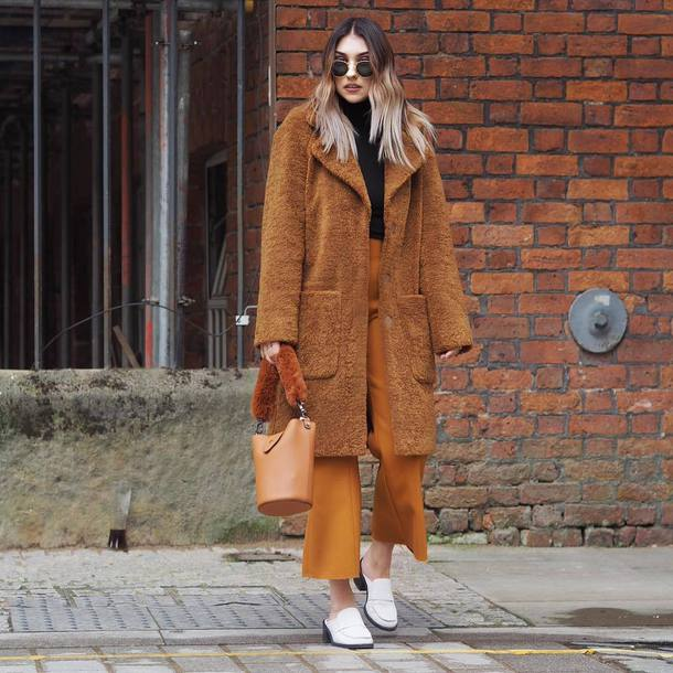 coat tumblr brown coat teddy bear coat fuzzy coat pants cropped pants mustard bag shoes sunglasses fall colors fall outfits
