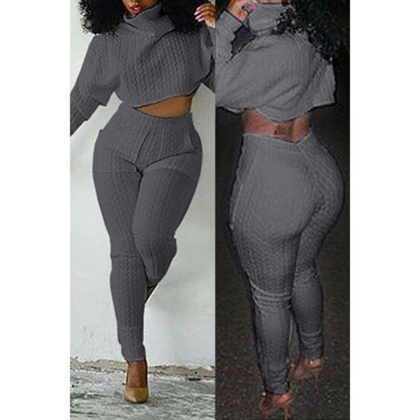 fc3e7b469acc8b jumpsuit pants top grey turtleneck Stylish Solid Color Turtleneck Crop Top  and High Waist Bodycon Pants