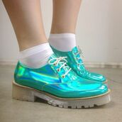 shoes,metallic,blue,oxfords,holographic,holographic shoes,turquoise,pastel goth,pastel,cute,psychedelic,pretty,hipster,grunge shoes,green,green holographic,green holographic shoes,tumblr,saddle shoes,teal,teal shoes,DrMartens