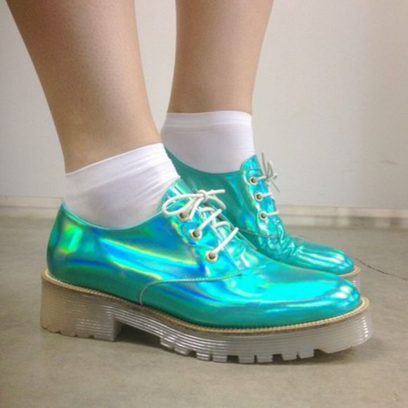 holographic turquoise green shoes metallic blue oxfords holographic shoes cute pastel goth pastel