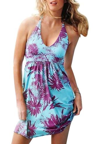 dress halter neck summer summer dress beach beach dress tie dye tropical summer outfits zaful backless