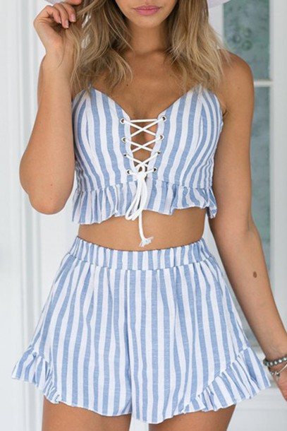 f443db8470 romper zaful summer cute lace up crop tops stripes style two-piece girly  girl girly