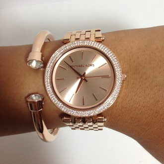 bag watch rose gold rose elegent diamonds michael kors classy girly pink jewels