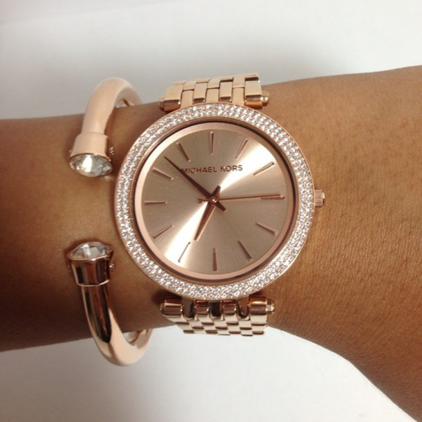 174abc2a673e bag watch rose gold rose elegent diamonds michael kors classy girly pink  jewels