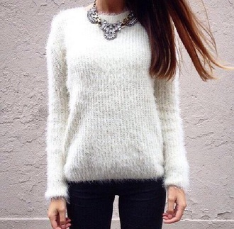 sweater winter sweater winter outfits white white sweater cute cool girly leggings black leggings jewels necklace pearl white jewel winter clothes fall sweater fall outfits fashion