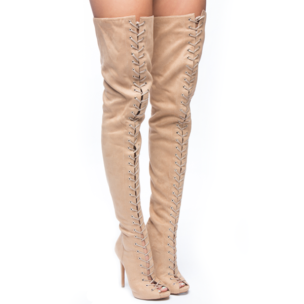 PIARRY Thigh High Boot in Cinnamon Suede – FLYJANE
