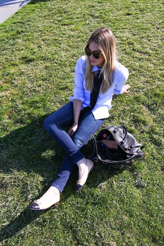 devon rachel blogger cat eye white shirt ballet flats shirt jeans bag sunglasses