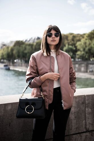 jacket white shirt pink bomber jacket sunglasses black trousers black handbag blogger
