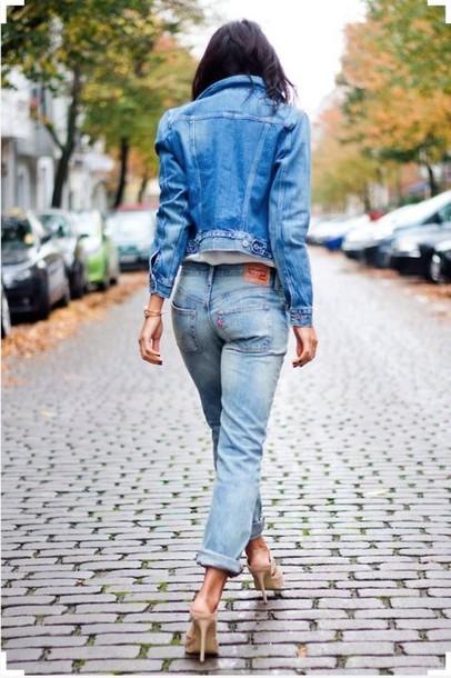 love maegan blogger denim jacket cropped jeans nude heels shoes levi's brown wedges mules slingbacks platform shoes platform wedge tumblr platform shoes leather platform shoes slingbacks