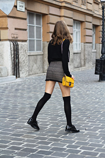 Skirt Tumblr Mini Skirt Bag Yellow Bag Top Black Top