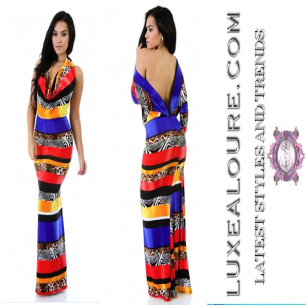 maxi dress multicolor animal print bright