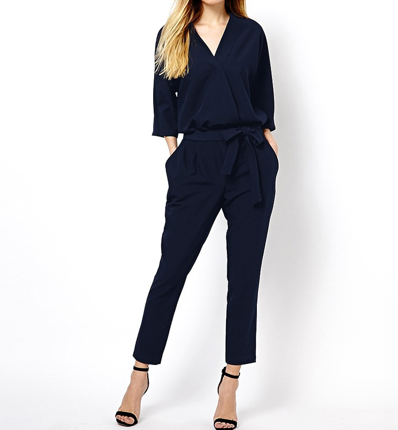 Peg Leg Jumpsuit With Self Tie Waist Detail
