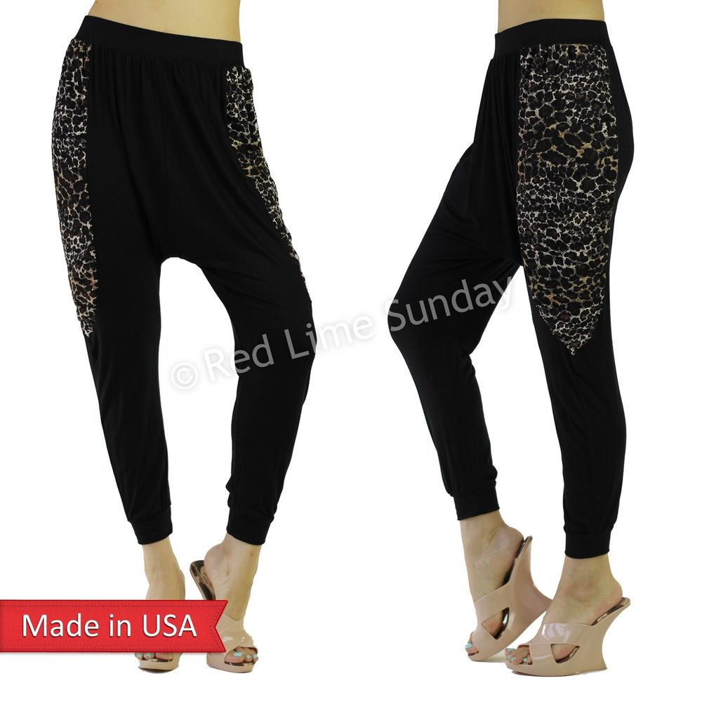 Vocal apparel mesh animal leopard insert harem genie low crotch pants usa size m
