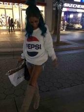 sweater,crewneck sweater,pepsi,pepsi cola,sweatshirt