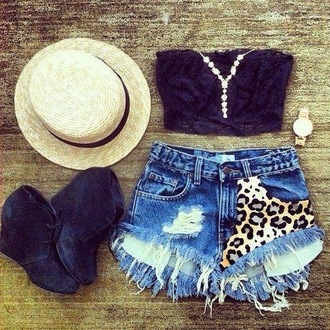 tank top shoes hat shorts leopard  print shorts shirt leopard print black crop tops high heels fedora pretty lace navy denim shorts