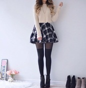 skirt,plaid,plaid skirt,shirt,beige sweater,beige,skater skirt,circle skirt,black,grey,white,sweater,top,tights,shoes,boots,booties,ankle boots,lace up,black boots,black booties,outfit,outfit idea,sweater outfit,white sweater,cropped,cropped sweater,crop tops,tartan skirt,flared skater skirt,plaid skater skirt,off-white,platform lace up boots,thigh highs,knee high tights,leggings