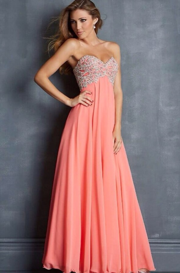 Dress: prom peach silk, dolcepromdress.com, coral, coral dress ...