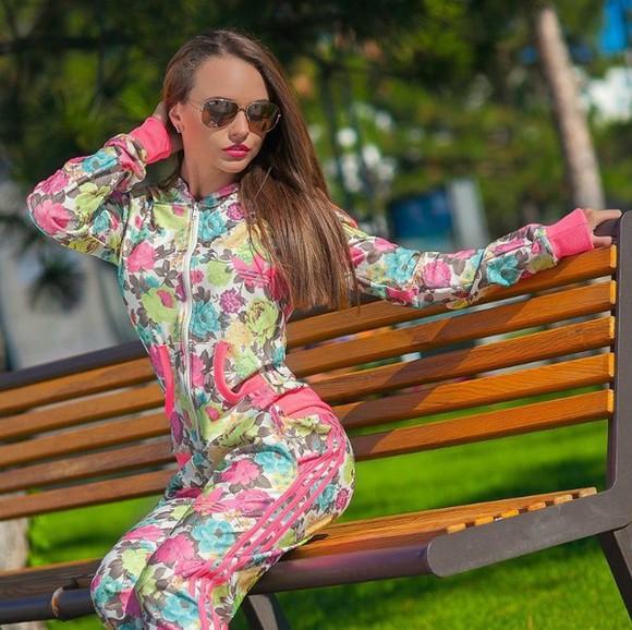 zip jumpsuit adidas tracksuit pants jacket sweatsuit floral style fashion 3 stripes beauty fashion shopping pink