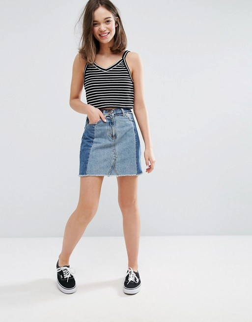 Monki Contrast Patchwork Mini Denim Skirt at asos.com