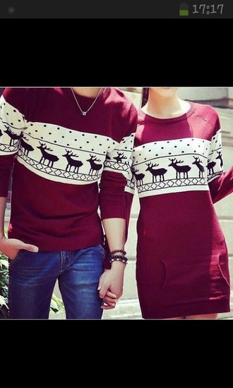 sweater red christmas christmas sweater couple sweaters